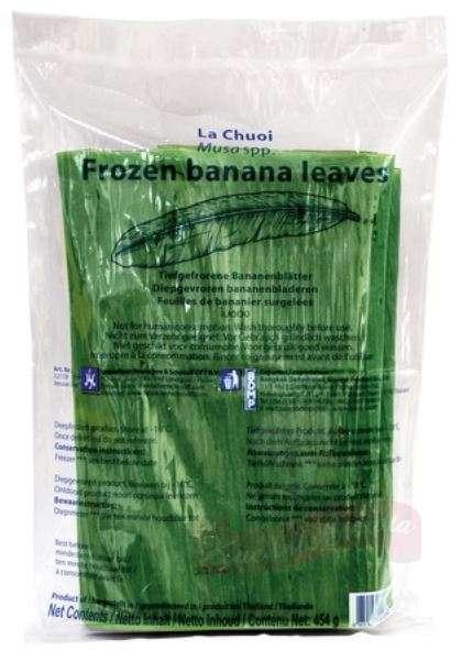 Frozen banana leaves