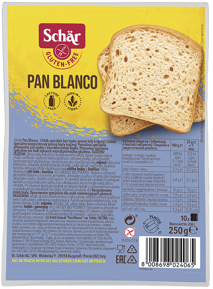 Pan Blanco, chleb bezglutenowy biały krojony 250g Schar